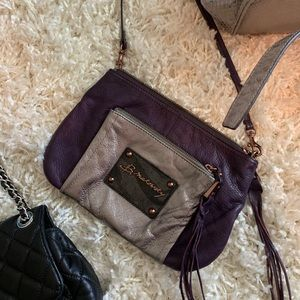 B makowsky purple and silver crossbody.